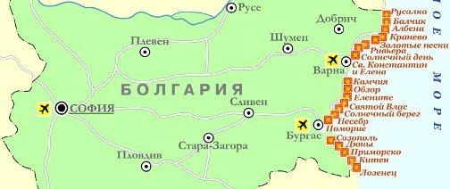 карта побережья Болгарии