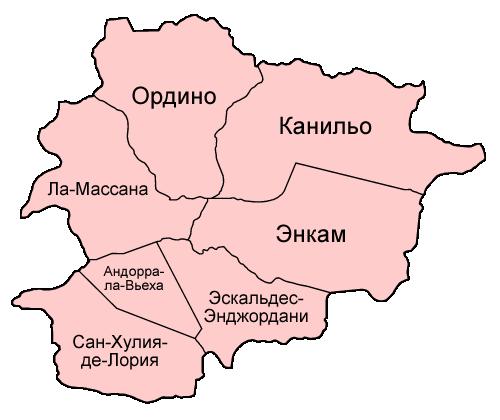 административная карта Андорры