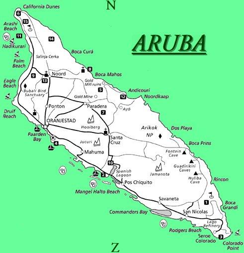 туристическая карта Арубы