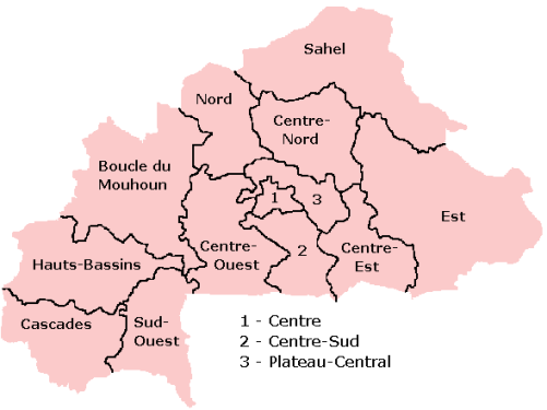 административная карта Буркина-Фасо