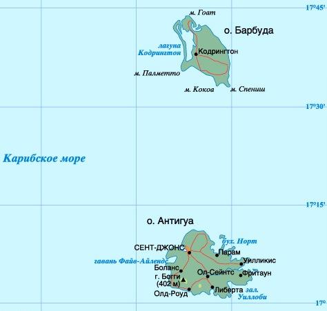 карта Антигуа и Барбуда