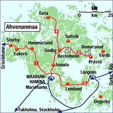 карта паромов Аландских островов