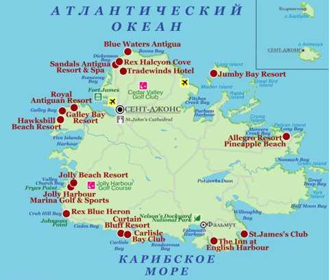 Туристическая карта Антигуа