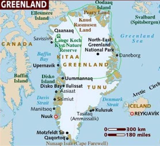 Нуук на карте Гренландии