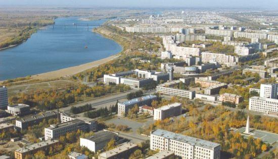 город Павлодар в Казахстане