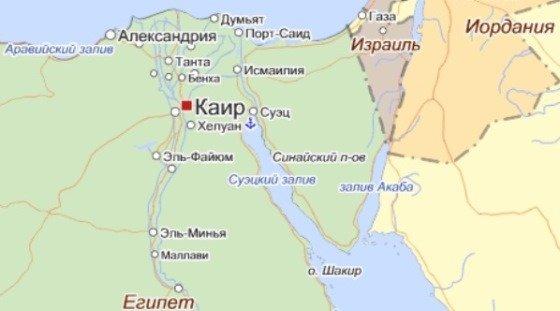Карта стран Синайского полуострова