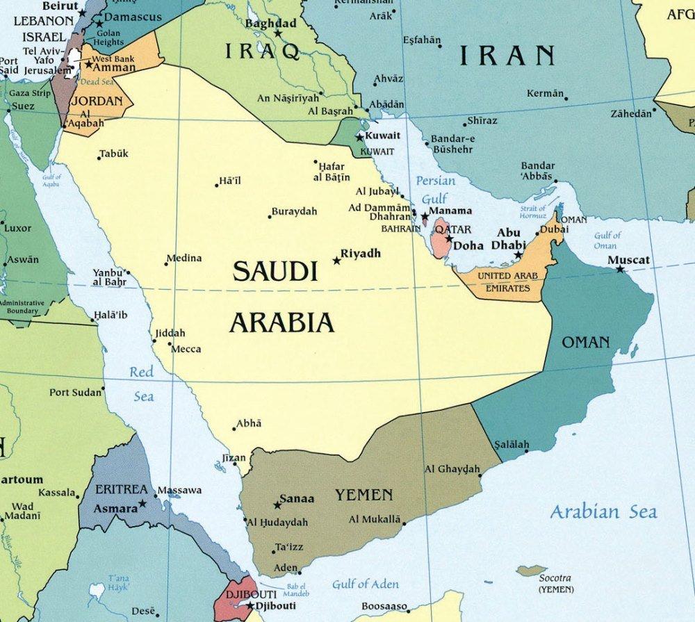 Аравийский полуостров, карта