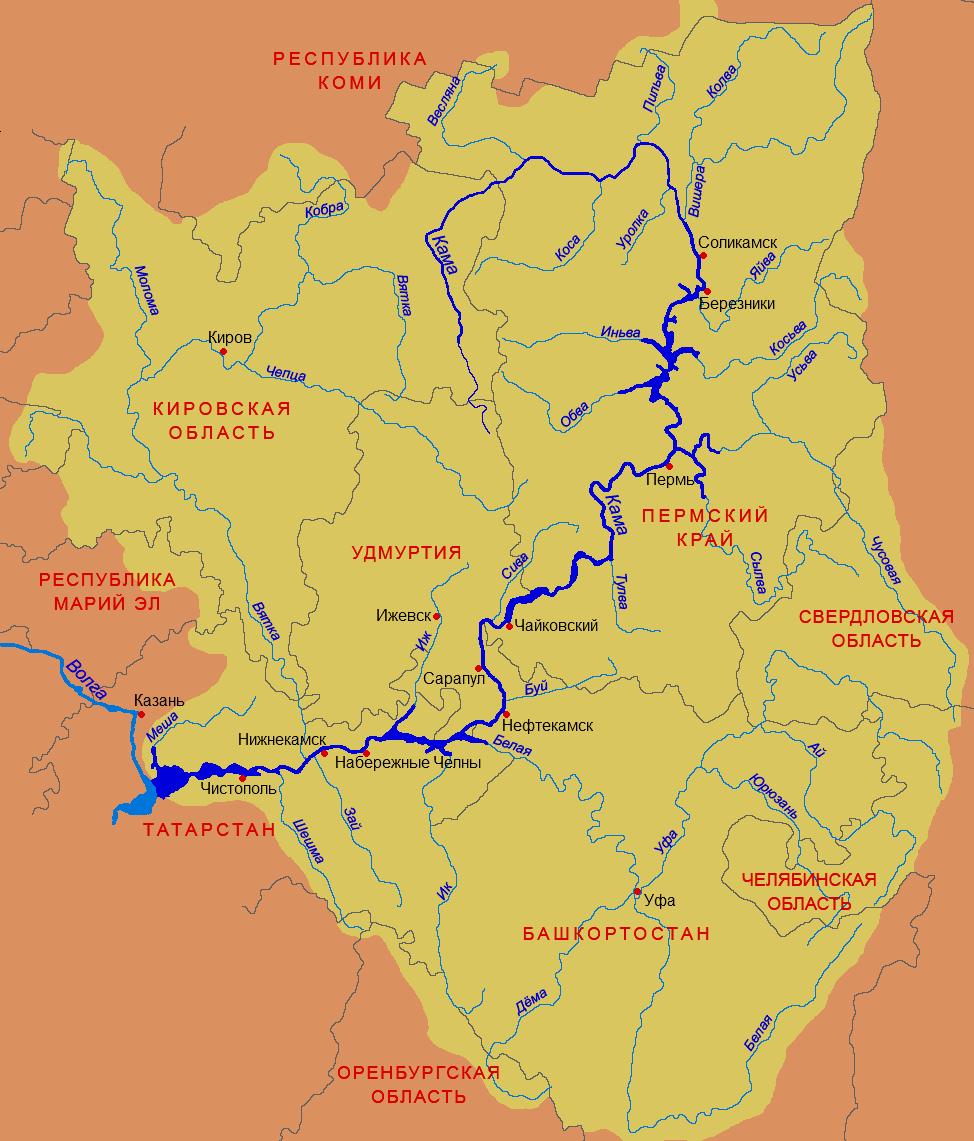 Кама на карте России