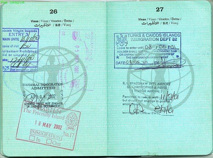 разворот паспорта со штампами
