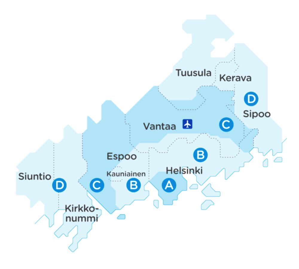 зоны общественного транспорта в Хельсинки